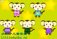 英文童谣five little monkeys flash